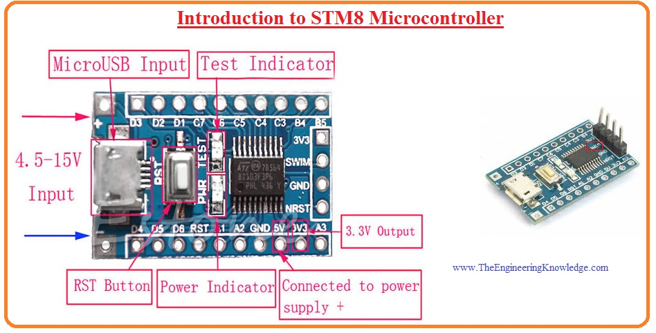 Introduction to STM8 Microcontroller, stm8 pinout, stm8 features, stm8 working, stm8 design, stm8 applications