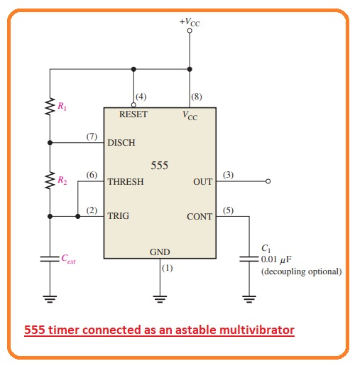 Working of 555 Timer as a Voltage-Controlled Oscillator (VCO) Astable Function 555 Timer as Oscillator Internal diagram of a 555 integrated circuit timer