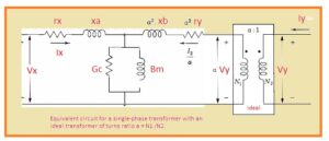 Equivalent circuit for a single-phase transformer