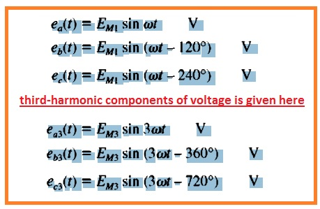 third-hannonic components of voltage will be given by